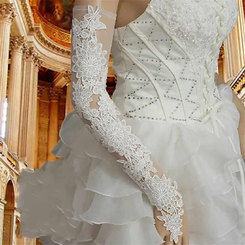 女性赤レースの結婚式の手袋指オペラ長さのロングブライダルパーティーウェディングアクセサリー