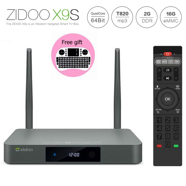 Full Loaded ZIDOO X9S Android 6.0 Caixa de TV Realtek RTD1295 KODI Quad núcleo 2G/16G PARA FORA/EM Smart TV + Mini teclado i8 Voar Rato Ar