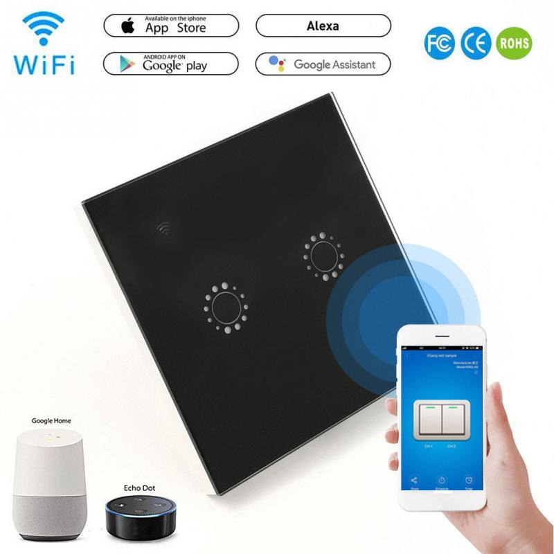 Toughened Glass Panel Smart Wifi Wall Light Switch 2Gang Touch APP Remote Smart Home Wall Touch Switch Works with Alexa #905 New sonoff t1 us smart touch wall switch 1 2 3 gang wifi 315 rf app remote smart home works with amazon free ios and app ewelink