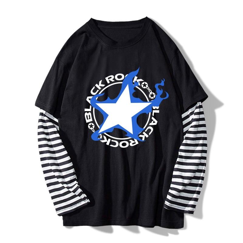 2018 Men's Spring Stripe T-shirt Anime Black Rock Shooter BRS Fake 2pcs Sleeve Tee Shirt Casual O-Neck Clothes S-XL