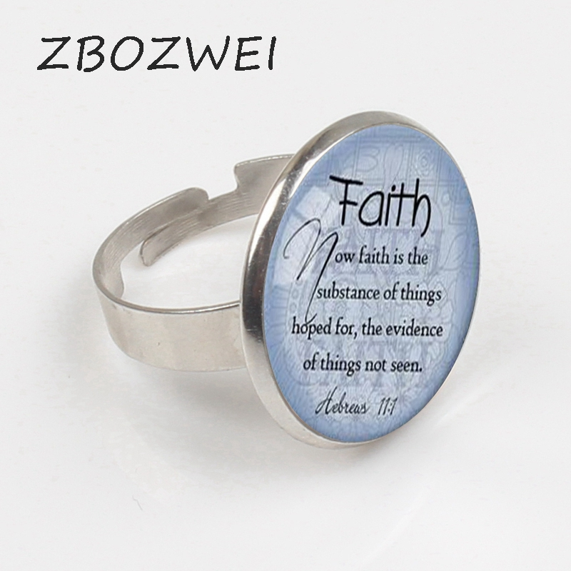 ZBOZWEI 2018 FAITH HEBREWS Ring Bible Quote Jewelry Scripture Ring Faith Ring Christian Gift for Bible Verse Jewelry in Rings from Jewelry Accessories
