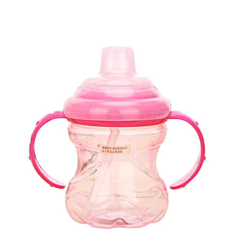 High Quality 260ml Cute Baby Kids Spill-proof Sippy Cup Children Learning Feeding Drinking Water With Straw Dual Handles Bottle eyki h5018 high quality leak proof bottle w filter strap gray 400ml