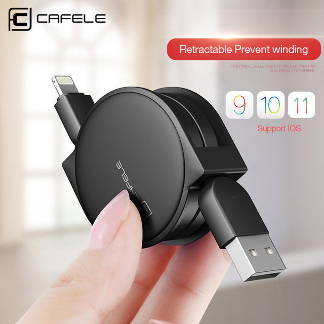 CAFELE 1m Retractable Cable For iPhone X Xr Xs Max 8 7 6 ipad Fast Charging Flat Usb cable Charger Data sync Cable For IOS 12 11