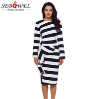 Sebowel White Striped Ruffle Pencil Dresses Women Back Slit Long Sleeve Midi Dress Office Party Sexy