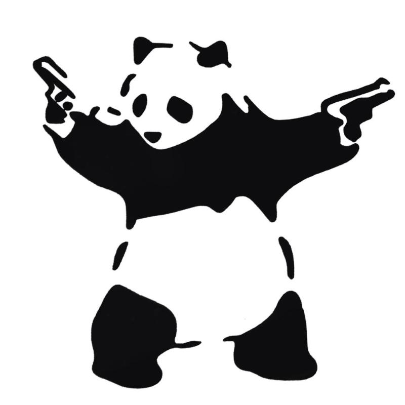 Lovely Panda With Two Guns 3D Car Truck Window Reflective Sticker Decal