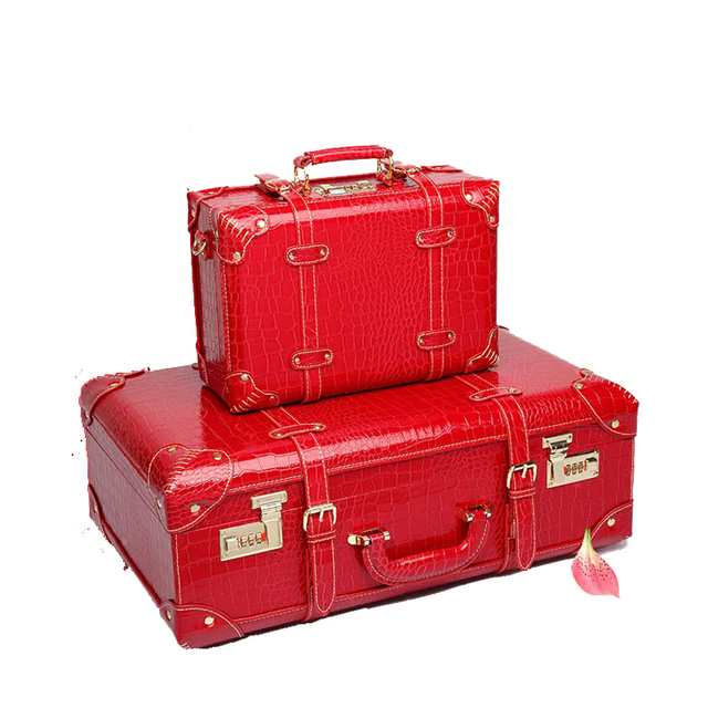 f267f3edd0ec BeaSumore Red Retro Crocodile Leather Suitcase Wheel Women Trolley Wedding Travel  Bag Trunk Carry On Luggage Password Hardside