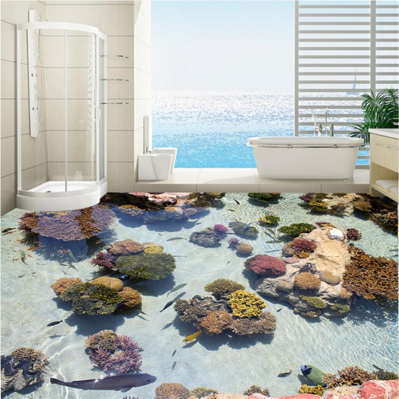 beibehang Custom 3D floor stickers Coral Tropical Fish Ocean 3D Floor Painting can be magnified ten times the room living room