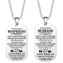 Lover Gifts To My girlfriend boyfriend Soulmate Military Dog Tag Engraved Pendant Necklace Key Chains for Couples Jewelry