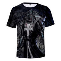 2019 T-shirt Male knights templar 3D printed O-neck T-shirt men's fashion Harajuku short T-shirt knights templar O-neck tops