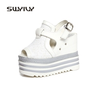 SWYIVY Woman Sandals Wedge Platform High Heels Sandals Women 2018 Female Thick Bottom Casual Shoes Summer Bling Bucket 39