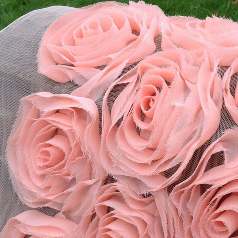 1Yard 91*130cm,Pink 3D Chiffon Rose Lace Fabric Embroidered,Wedding Apparel Sewing Tissue,Decorative Tulle Mesh Diy Cloth
