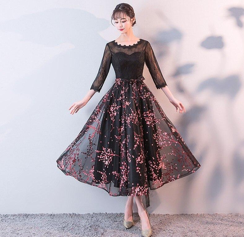 Sera 2019 Nero Elegante Di Del Merletto Tulle collo Promenade O Il Estate Partito Mid Vestidos La Abiti Cerimonia Nuziale Per 6qFwxqa