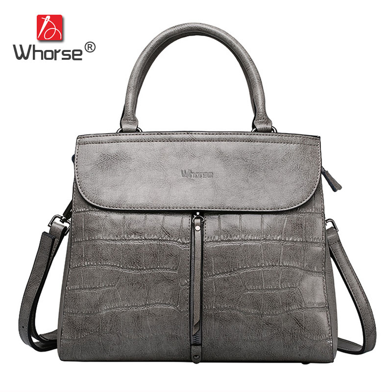 [WHORSE] Brand High Quality Women Handbag Genuine Leather Crocodile Shoulder Messenger Bags Real Cowhide Casual Tote Bag W07560  kevti brand genuine leather women handbag high quality cowhide female shoulder bags casual crossybody bag european style hobos