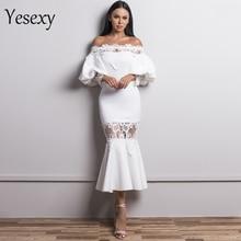 فساتين مثيرة مكشوفة الأكتاف للنساء من Yesexy لعام 2020 فستان من الدانتيل فستان حورية البحر أنيق غير رسمي طراز VR18430