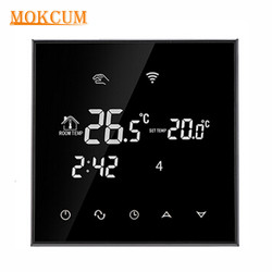 Wifi Thermostat Water Floor Heating Smart Programmable Temperature Controller with LCD Touch Screen Alarm Clock Multifunction