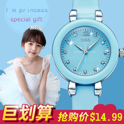 2016 New Children Watch Princess Elsa Anna Watches Fashion Cute Girl Kids Student genuine Leather Sports Analog Wrist Watches