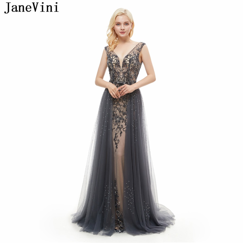JaneVini Gray Tulle Long Bridesmaid 2018 Sexy Deep V Neck Backless Beaded Crystal  Mermaid Prom Dress Luxury Formal Party Gowns 5f3d034358af