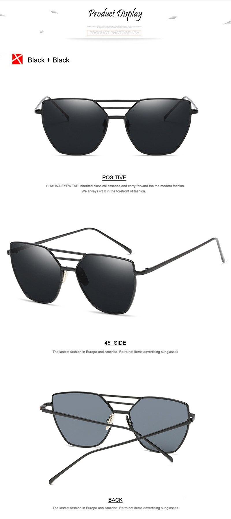 7b6d2af1a2be8d Click here to Buy Now!! SHAUNA Mode Femmes Cat Eye lunettes de Soleil Dames  En Métal Cadre Plat Réfléchissant Lunettes de Soleil