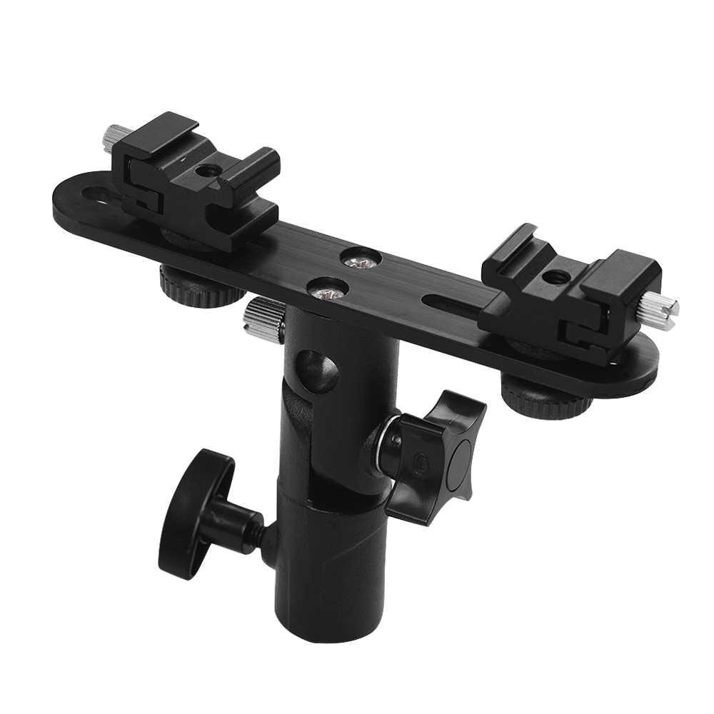 Т-образный двойной кронштейн вспышки скорость lite стенд зонтик отверстие для Canon Nikon YONGNUO вспышка для осветительной стойки фотография зонтик