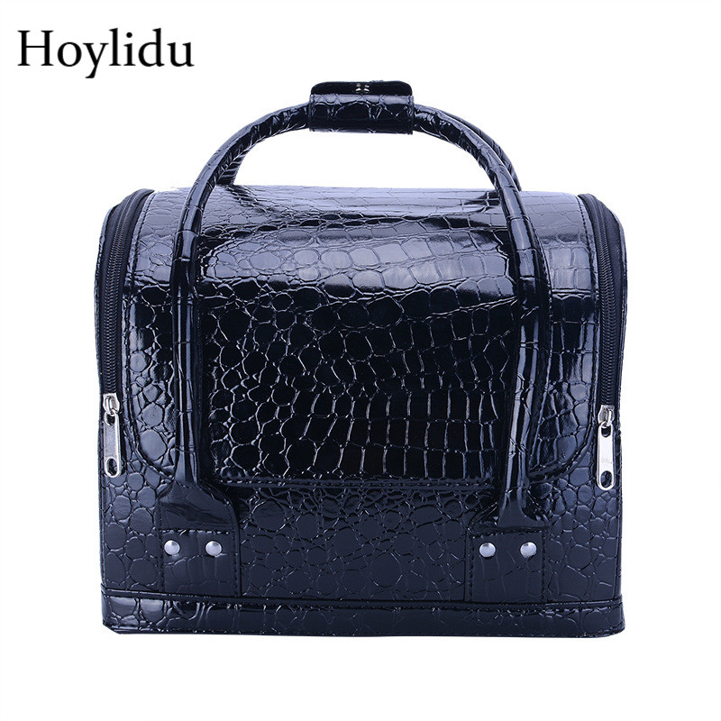 PU Leather Cosmetic Box Women Fashion Professional Multi-layer Nail Art Make Up Boxes Large Capacity Makeup Bag Toiletries Case цена 2017