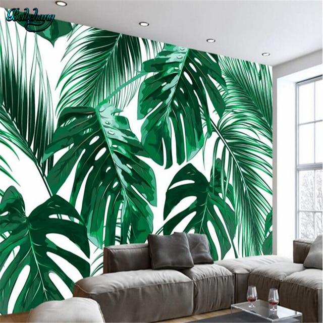 Beibehang Modern Minimalist Fresh Rainforest Plant Banana Leaf Idyllic Murals Lounge Sofa Television Background Wall