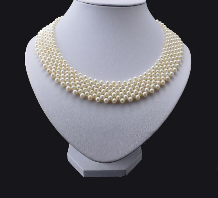 New 418+++5-6mm original manual neck Concealer multi layer natural pearl necklace flower chain цена