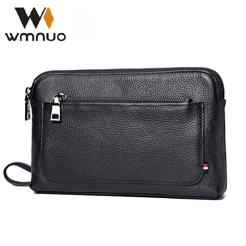 Wmnuo Men Handbag Genuine Cow Leather Coin Purse Men Clutch 2018 New Fashion Men Wallet Hand Bags High Quality Business Carteras цена 2017