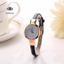 Relojes Feminino удивительные Для женщин Творческий тонкий кожаный ремешок аналоговые кварцевые-Смотреть Дамы Простой vogue платье браслет наручные часы