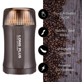 コーヒーグラインダー電気ナット & スパイスグラインダーステンレス鋼の刃と種子豆コショウグラインダー、クリーニングブラシが付属