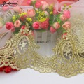 Light Gold Embroidered Lace Nylon Mesh Fabric Scalloped Bridal Dress Appliqued Trims Soft Tulle Base 26CM