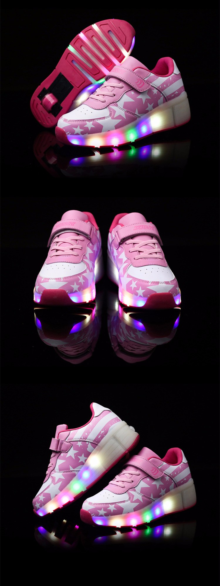 Girls Kids Roller Light Up Shoes Boys Glowing Sneakers with Wheels Star Style Pink Black tenis led infantil rodinha zapatillas1