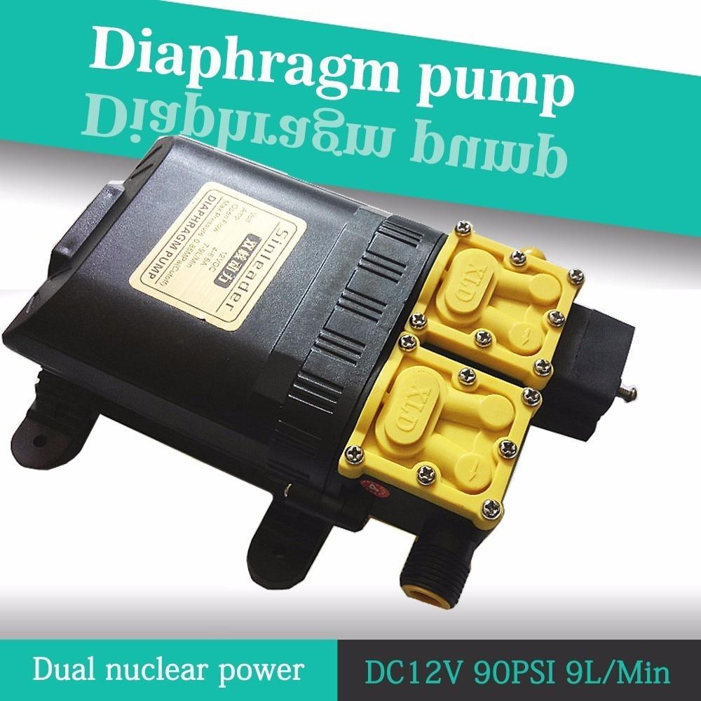 Dc 12v 125psi 9l/min Agricultural Electric Water Pump Dual Power Pump Micro High Pressure Diaphragm Water Sprayer Car Wash