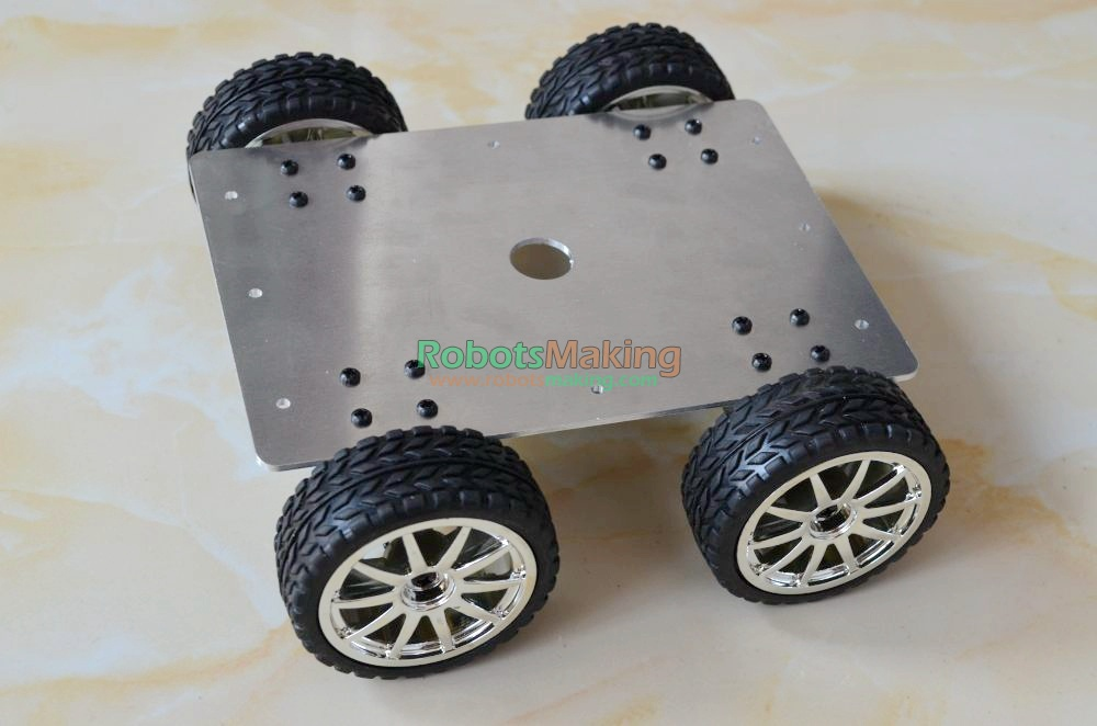 high Power rugged strong aluminum alloy Robot tracking car driven 4WD smart metal tank chassis <font><b>for</b></font> DIY with 4 motor SN40