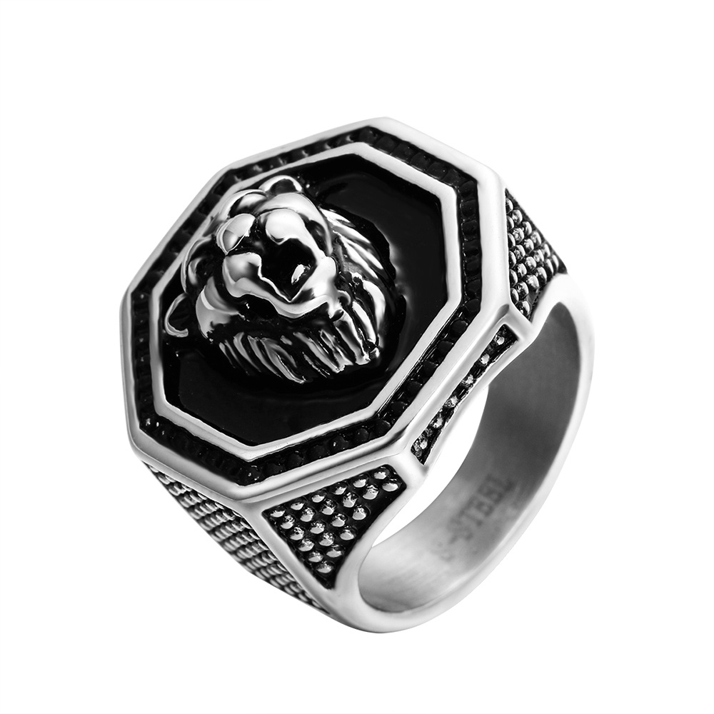 ZMZY Antique Black Vintage Gothic Punk Large Stainless Steel Biker Rings for Men Carved Lion Ring Women Jewelry