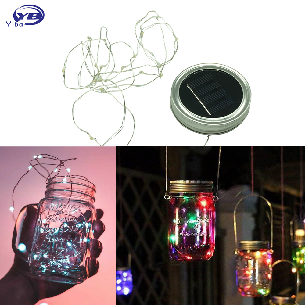 Led fairy light solar outdoor light for mason jar lid - Large bulb exterior christmas lights ...