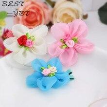 Cheap Summer Style Chiffon Ribbon Flower Hairpins Kids Accessories Gilrs Hair Accessories Children Accessories Baby Hair Clip