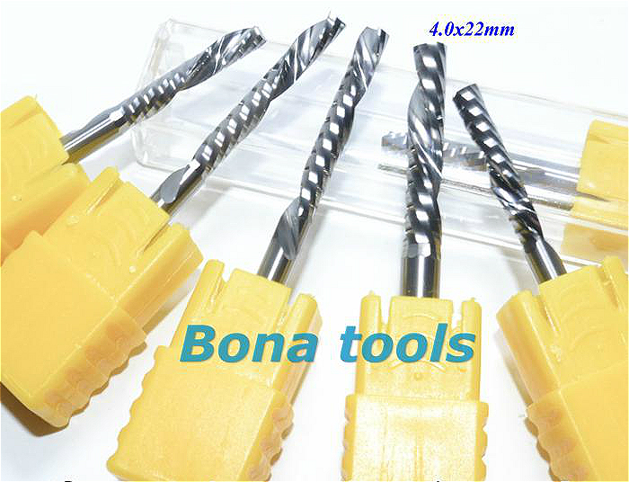 Купить с кэшбэком 4.0*22MM (Left-Handed) Down Cut Carbide One CNC Flute Spiral Bit, Sharp CNC Milling Cutters for Wood Router Tools CNC Milling