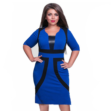 2018 New Brand Women Dress Plus Size 6XL Vestidos Felame Ladies Knee Length Patchwork Casual Pencil Dresses For Party Oversized