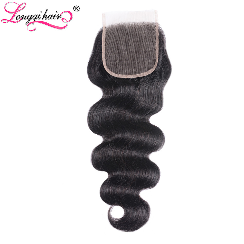 Longqi Hair 4x4 Malaysian Body Wave Lace Closure 100 Remy Human hair Closure1pc lot Natural Black