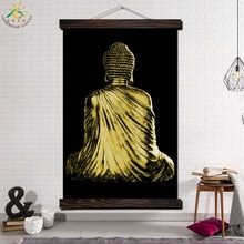 Back View of Buddha Single Framed Scroll Painting Modern Canvas Art Prints Poster Wall  Artwork for Home Decor