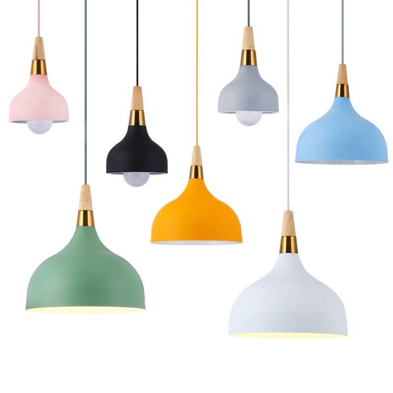 Nordic Restaurant Droplight E27 Kitchen Lighting Pendant Lights Modern Wood Light Fixtures