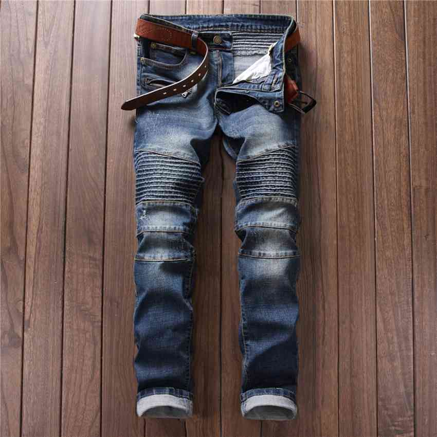 #2779 Fashion Punk Biker denim jeans Skinny High quality brand Men jeans pants new arrival Motorcycle trousers Hip hop jeans