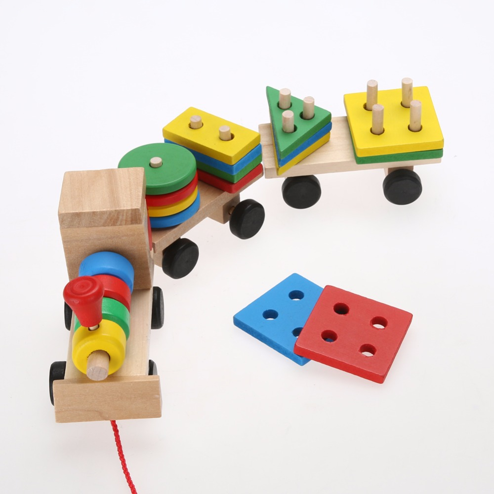 Baby Blocks Toys : Toddler baby wooden stacking train blocks toy fun vehicle