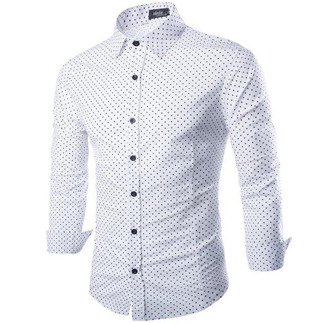 Nueva Camisa Blanca De Los Hombres 2015 de Diseño de Moda Polka Dot Mens Marca Con Estilo Adelgazan Las Camisas de Vestido Ocasional Camisa Chemise Homme Masculina