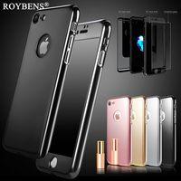 Roybens De Luxe Miroir 360 Degrés Cas Pour iPhone 6 6 S 7 Plus En Métal Effet PC Complet Protection Couverture En Verre Trempe Protecteur D'écran