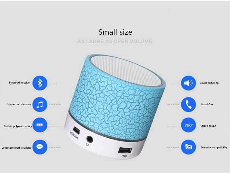 Ollivan A9 LED Bluetooth Speaker Mini Speakers Hands Free Portable Wireless Speaker With TF Card Mic USB Audio Music Player (9)