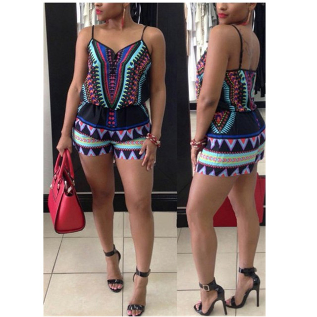 e0cd25b5a4eb Women Rompers Print Short Jumpsuit Hot Sexy Clubwear Strapless Backless Playsuit  Casual Slim Beach One Piece Overalls