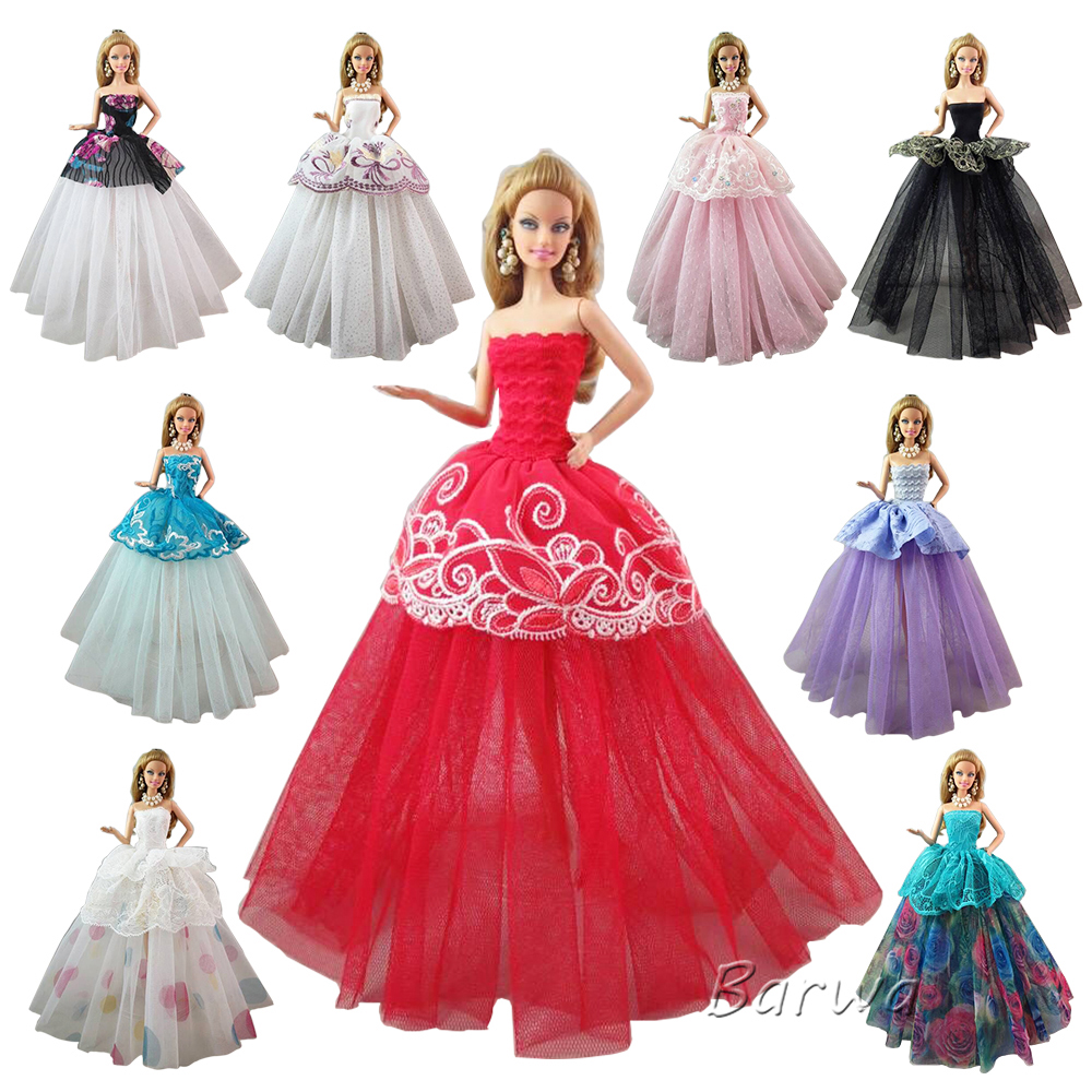 Barwa 11.5 Inch Doll Clothes 3 PCS Wedding Party Dresses Fashion Princess Elegant Ball Grown Wears Evening Party Outfits for Barbie Doll Xmas Gift