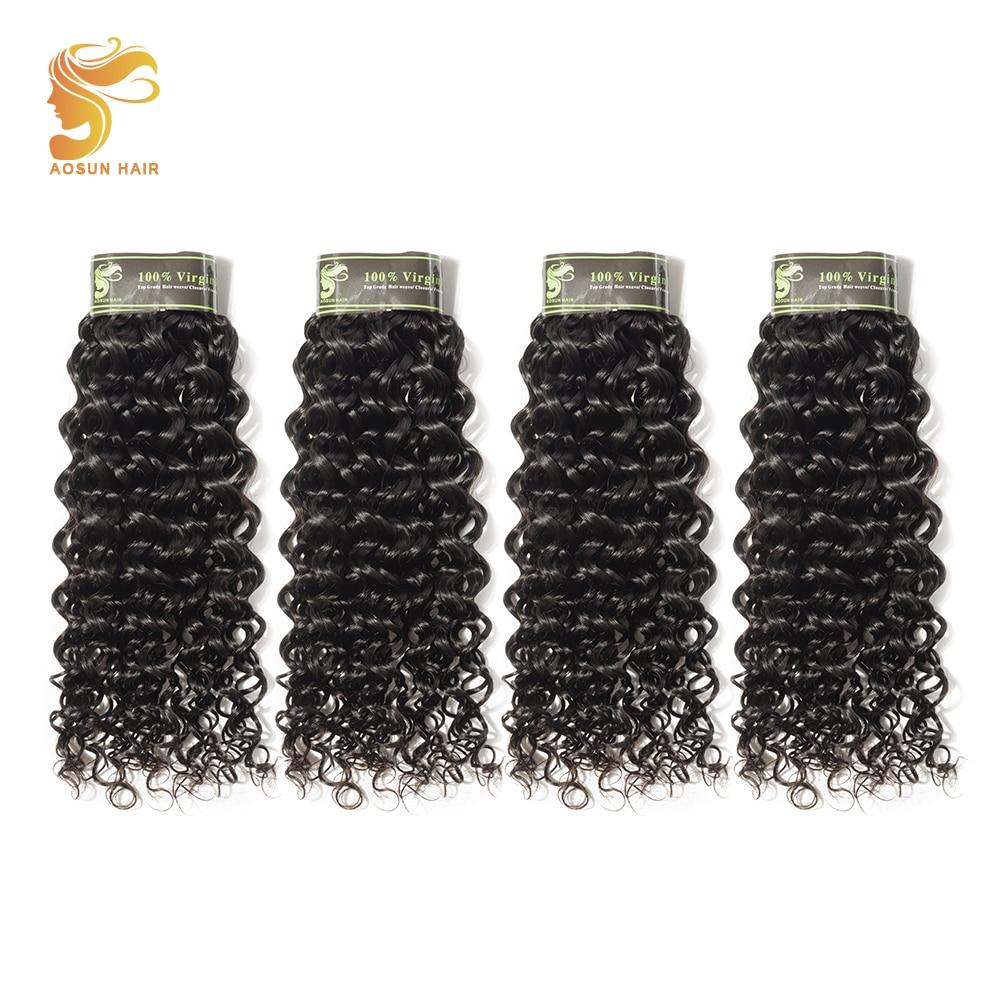 AOSUN HAIR Brazilian Curly Hair 4 Bundle Deals Brazilian Remy 100% Human Hair Weaves Italian Curly Hair Extensions 8-28 Inches