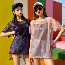 2018 2 Piece !! Ulzzang Korean Harajuku Mesh Top Women Mesh Tshirt + Black Camis Chic T shirts Glitter Dropshipping(China)